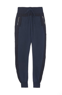 Zipped Joggers in Navy