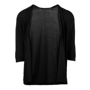 Short Sleeve Knit Cardigan in Black