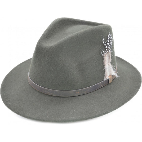 Wool Felt Fedora Hat in Olive Green