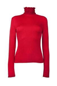 Ruffle Neck Polo Neck