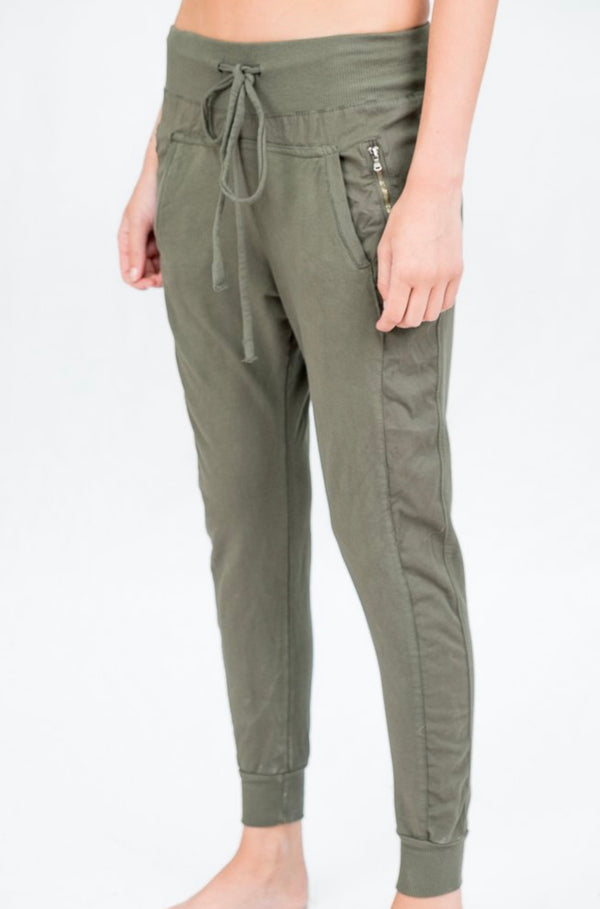 Zipped Joggers in Light Khaki