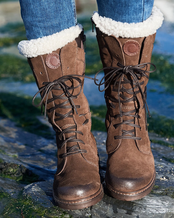 Sheepskin Trim Leather Boots