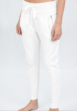 Zipped Joggers in White
