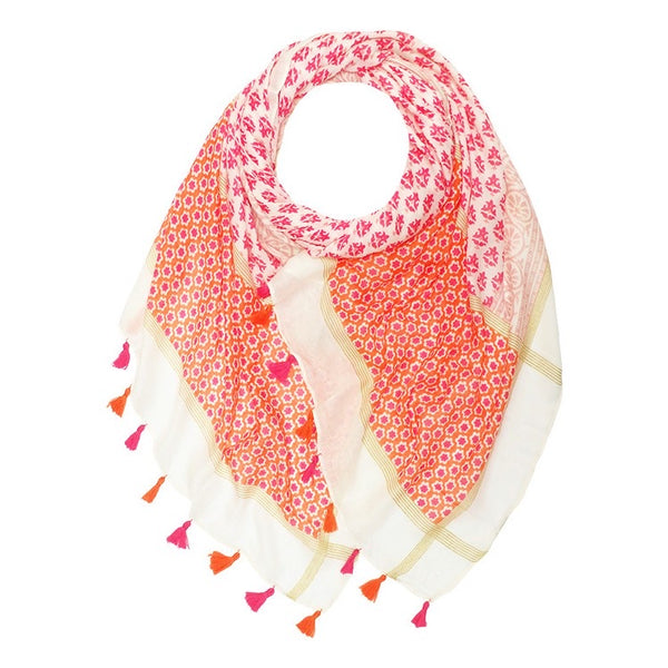 Flora Tassel Scarf Pink/Orange