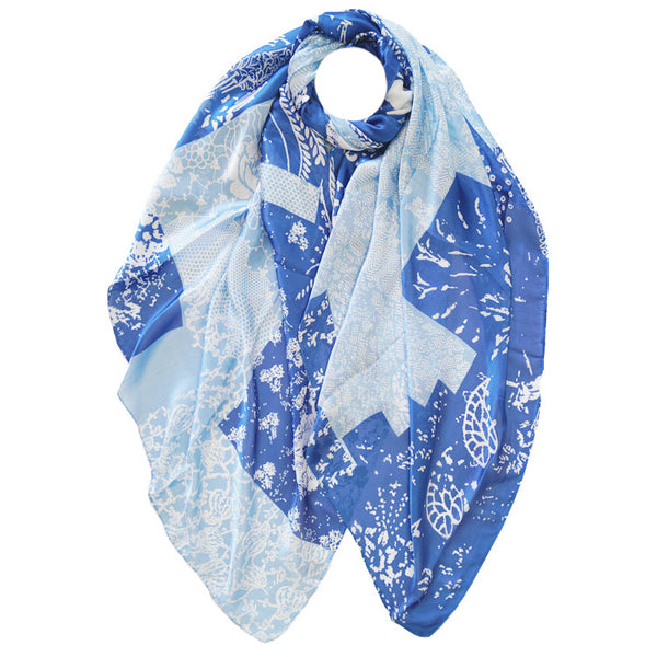 Silk Mix Scarf Blue