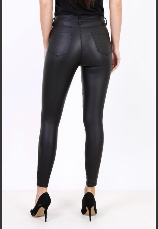 Cara Coated Jeans - Black