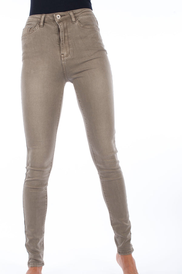 Super Stretch High Waisted Skinny Jeans - Light Khaki