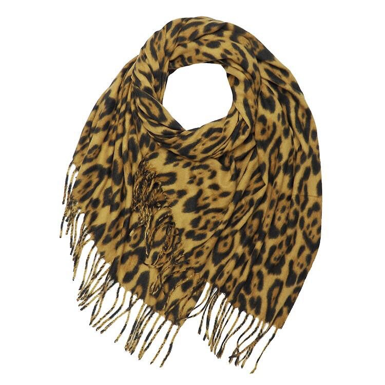 Leopard Print Scarf with Fringe
