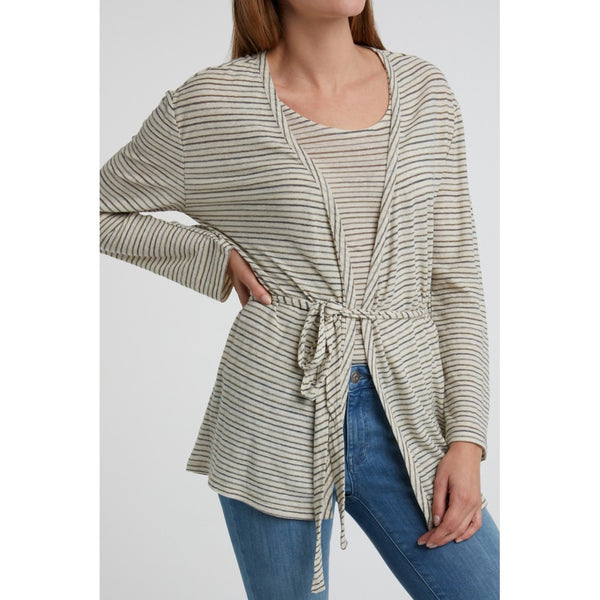 Linen Mix Striped Belted Cardigan