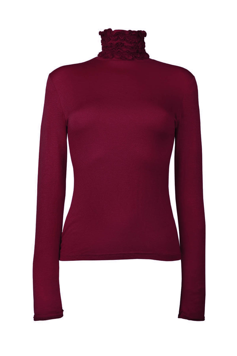 Ruffle Polo Neck