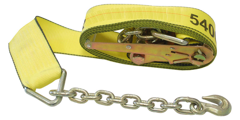 "2"" Ratchet Tie Down Strap w/ Chain Extension"