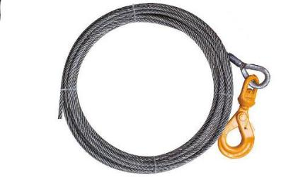 "3/4"" Steel Core Winch Cables with Self-Locking Swivel Hook are made with High Quality USA Wire Rope.  All components are Made in USA."