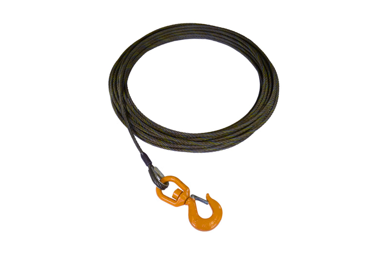 "7/16"" Steel Core Winch Cables with Swivel Hook with Latch are assembled and made in the USA with all domestic material."