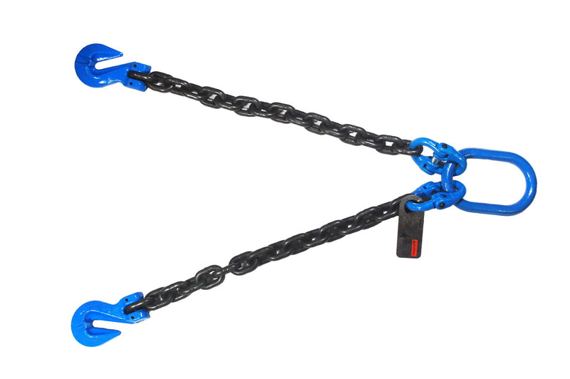 1/2''x 2' Grade 100 V-Bridle Recovery Chain with Master Link and Grab Hooks