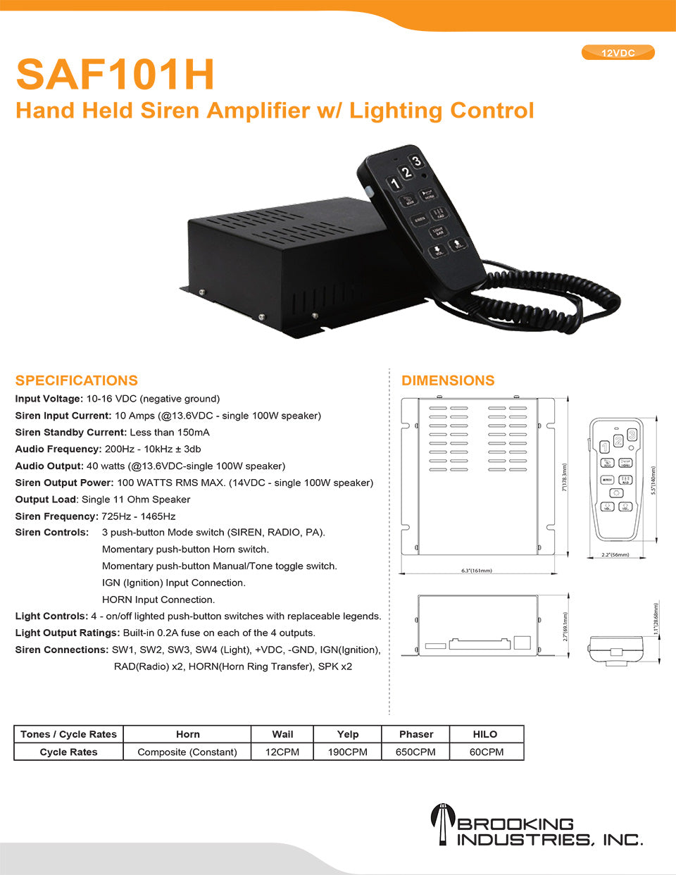 S03 100w Hand Held Siren Amplifier With Lighting Control Police Tone Circuit