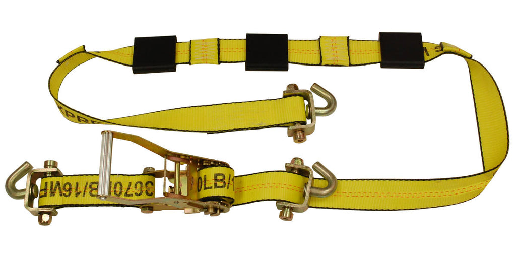 "2"" x 10FT Auto Transport Wheel Strap with Ratchet Swivel J Hooks"