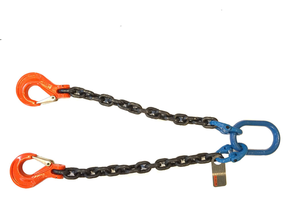 1/2''x 2' Grade 100 V-Bridle Recovery Chain with Master Link and Foundry Hooks