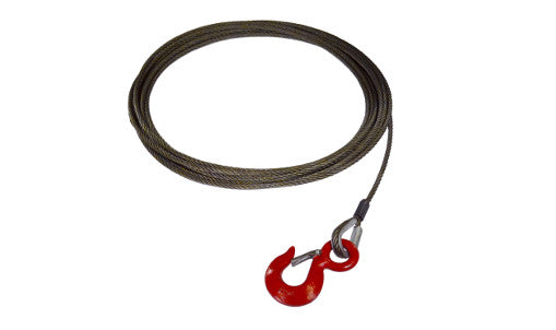"These 3/8"" Steel Core Winch Cables Fixed Hook with Latch are assembled and made in the USA with all domestic material."