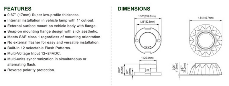 M53 Round 3-Diode Surface Mount Lighthead diagram