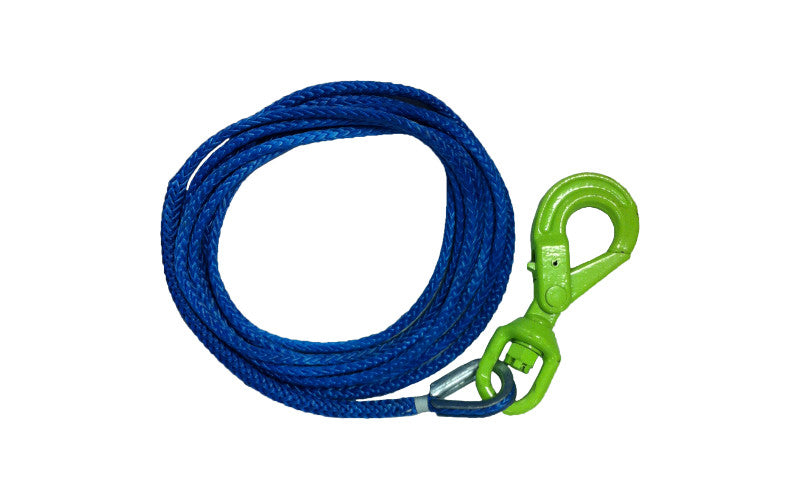 "Made with USA Synthetic Rope these 7/16"" Winch Cables come with a Self Locking Hook."