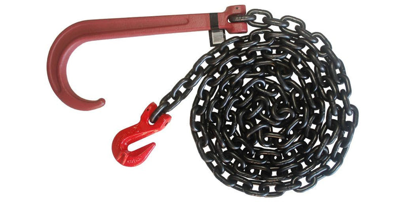 3/8' Grade 80 Recovery Chain with Grade 80 Long J-Hook and Grab Hook