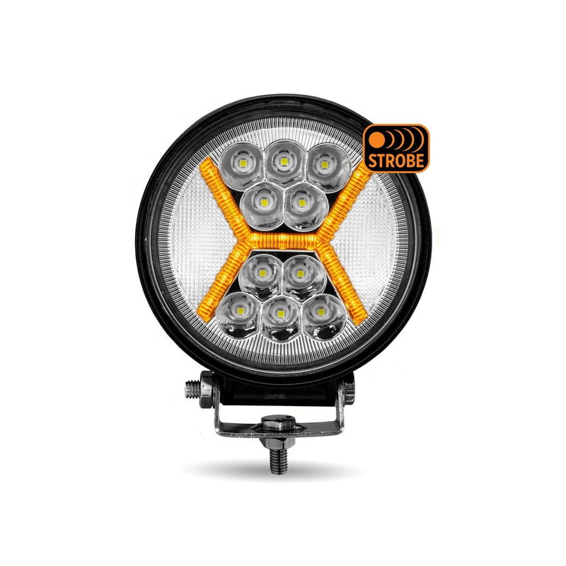 Round High Powered Combo LED Worklight with Amber Strobe (39 Diodes) - 3000 Lumens