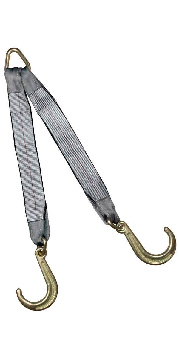 "This 8"" J-Hook V-Strap web bridle is made with 3"" wide double ply webbing,"
