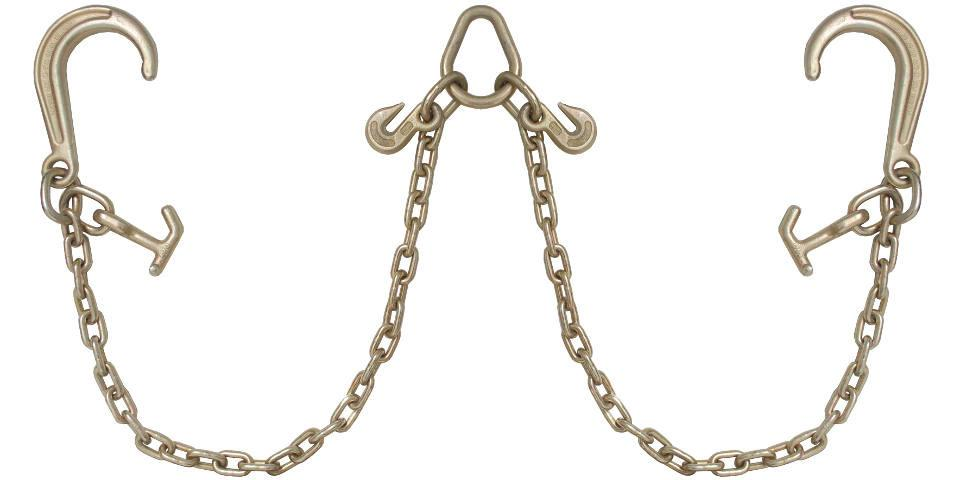 V Bridle Tow Chain J Hooks 8'' w/ T-J Combo Pear Link