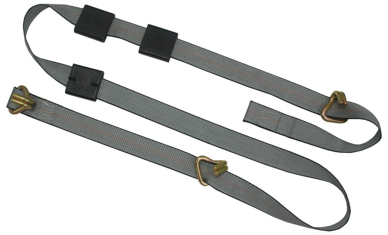 "2"" x 12ft auto carrier transport soft straps with 3 wire J hooks and 3 rubber blocks for proper placement."