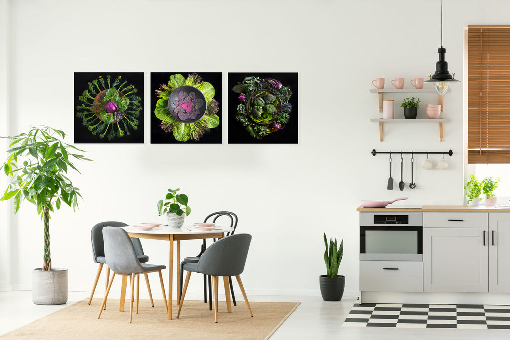 Mandala Fine Art Metal Print, Strawberries, Lettuce and Artichoke
