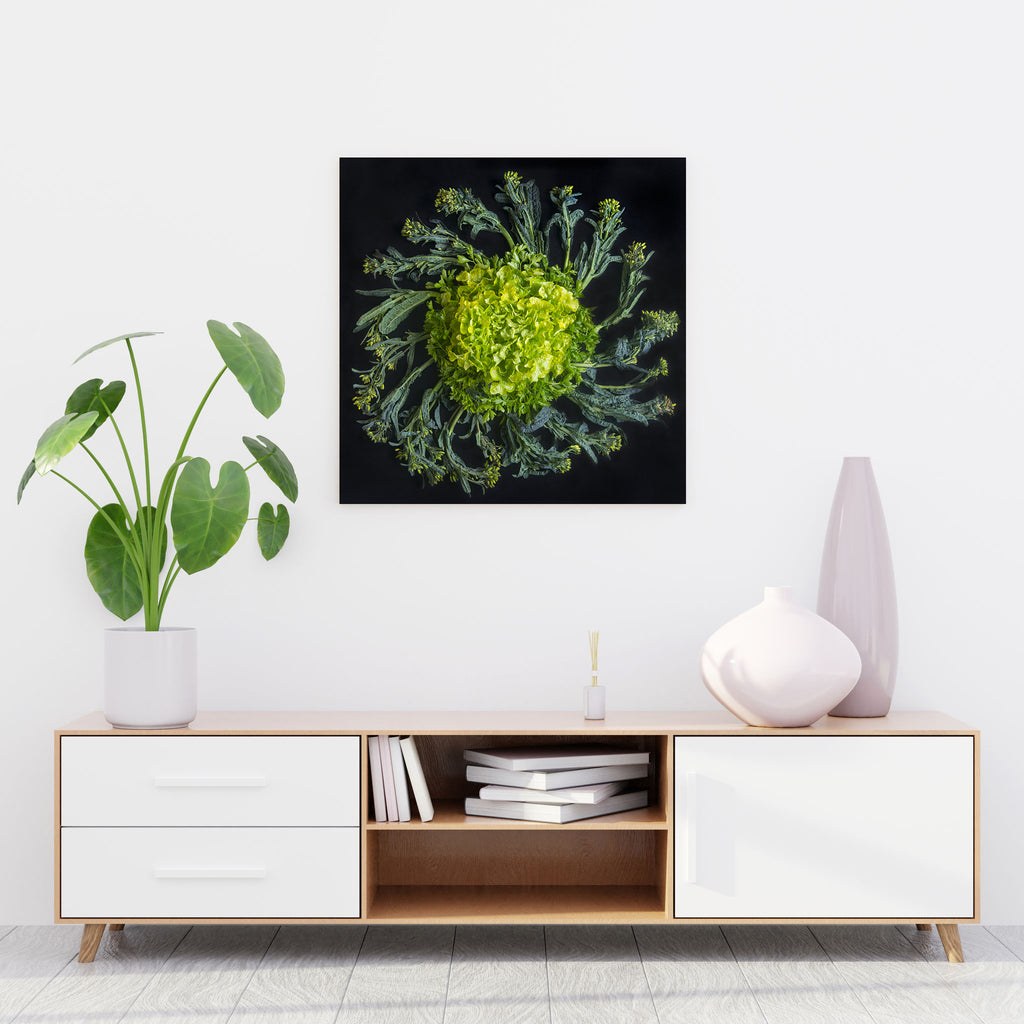 Mandala Fine Art Metal Print, Broccoli and Lettuce