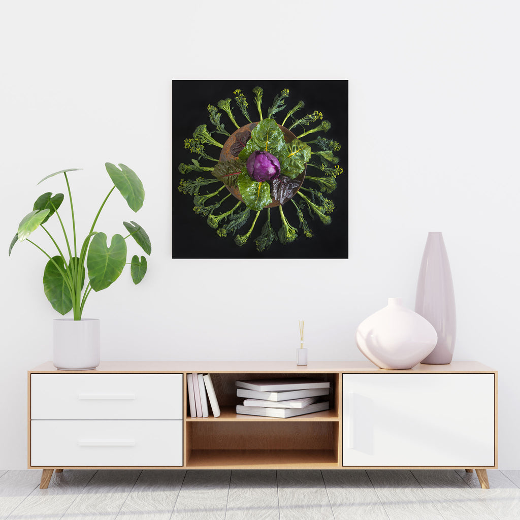 Mandala Fine Art Metal Print, Cabbage, Chard and Broccoli