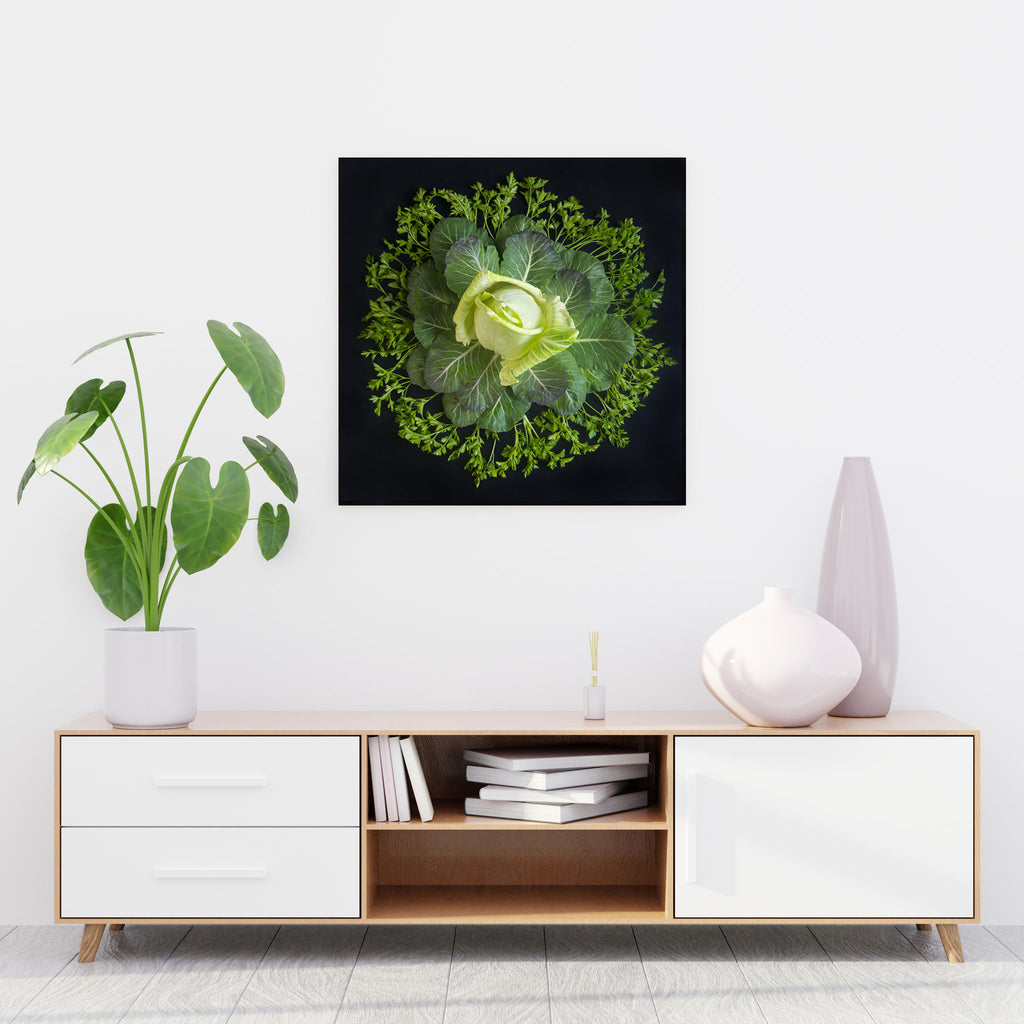 Mandala Fine Art Metal Print, Cabbage, Collard Greens and Italian Parsley