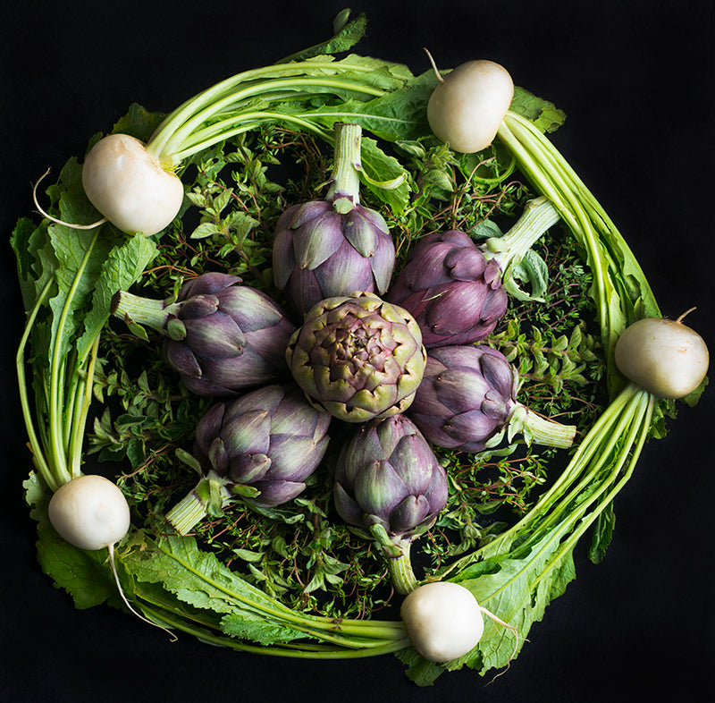 Mandala Fine Art Metal Print, Turnips, Artichokes and Oregano