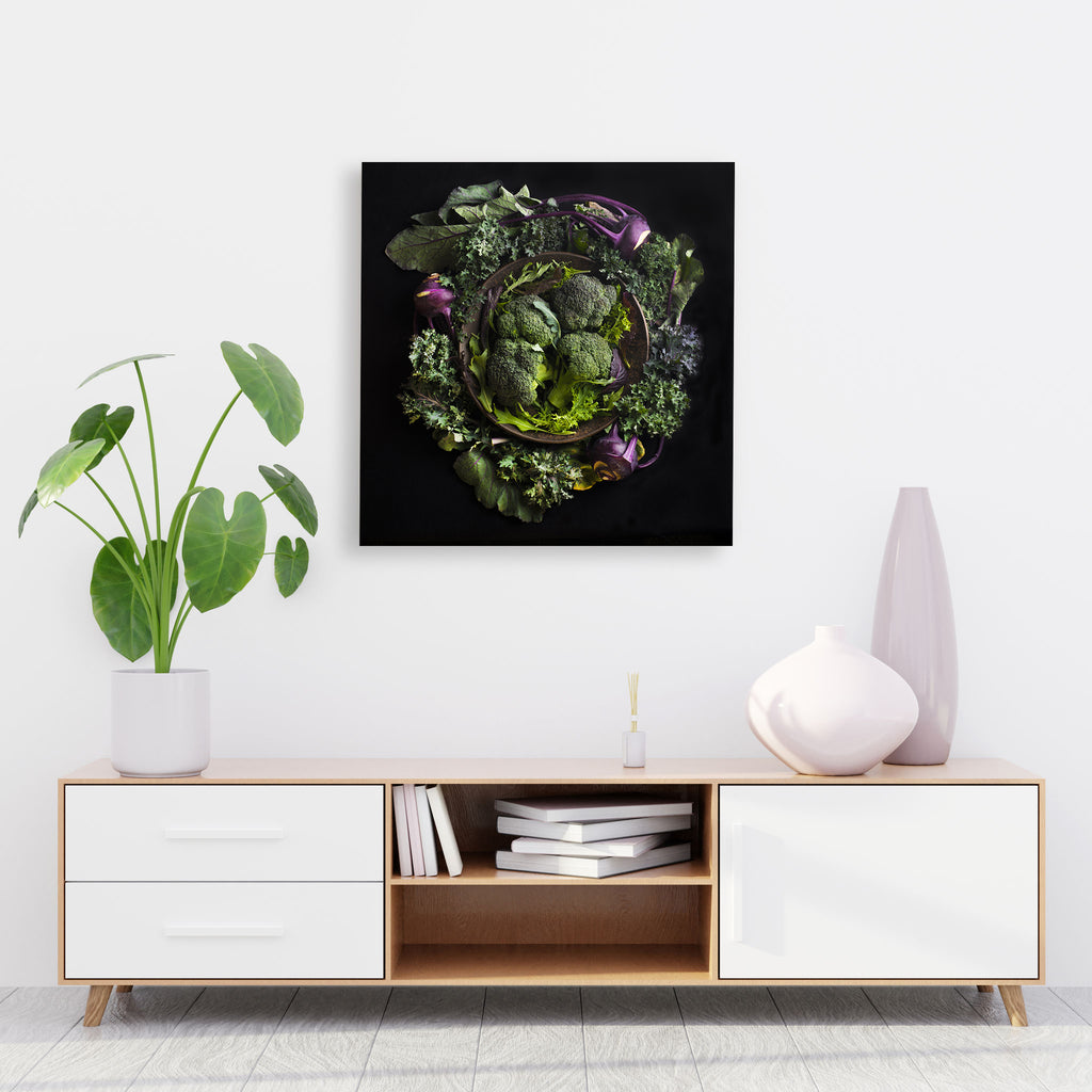 Mandala Fine Art Metal Print, Broccoli and Kohlrabi
