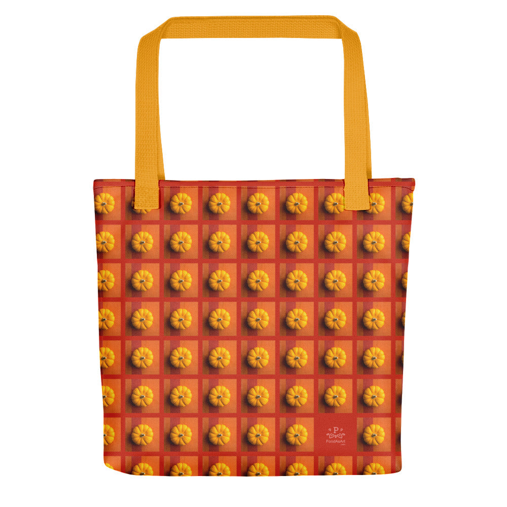 Tote Bag, Pumpkins on orange and red