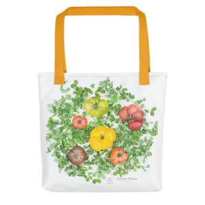 Tote bag, tomatoes and pea shoots