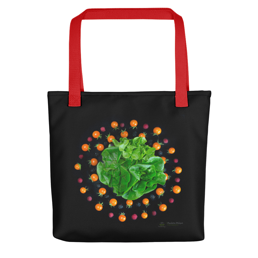 Tote bag, lettuce, tomatoes and blackberries mandala
