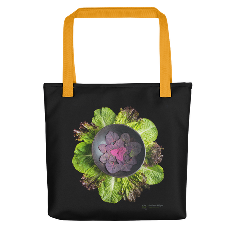 Tote bag, red orach (aka mountain spinach) and lettuce mandala