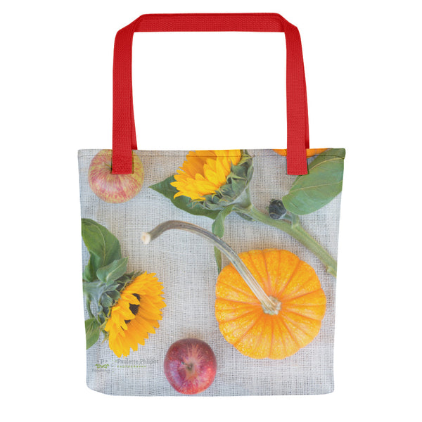 Tote bag, pumpkins, sunflowers and apples
