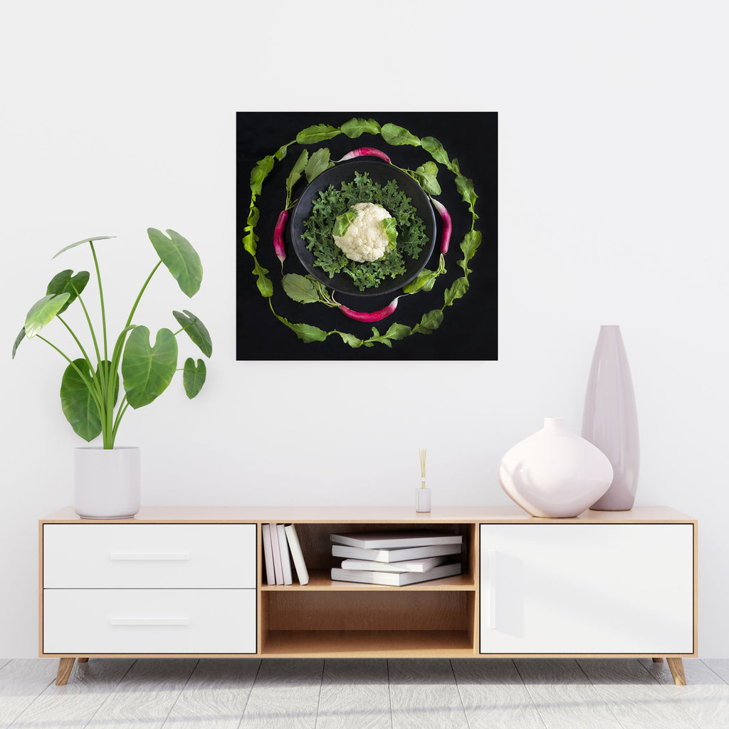 Mandala Fine Art Metal Print, Radish, Arugula and Cauliflower