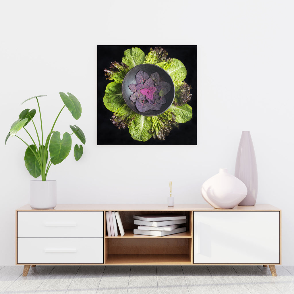 Mandala Fine Art Metal Print, Red Orach (Mountain Spinach) and Lettuce