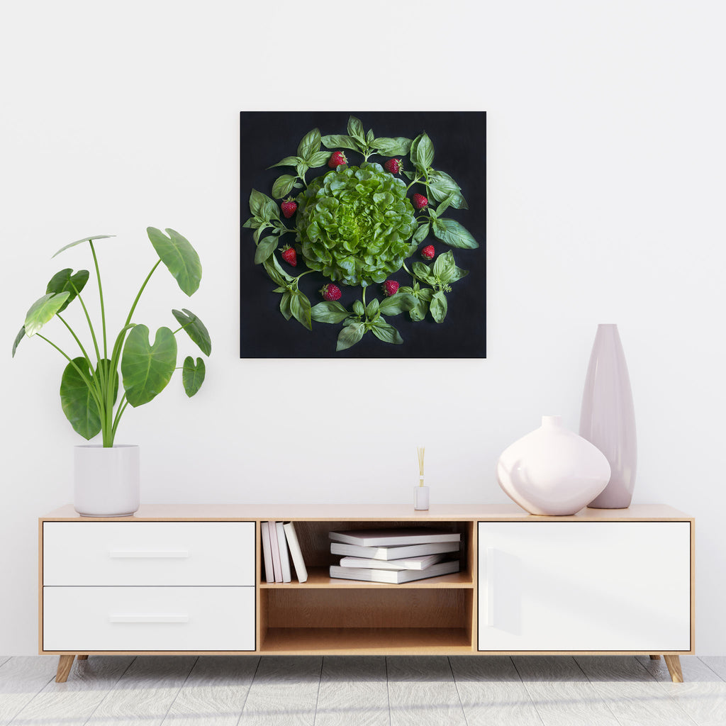 Mandala Fine Art Metal Print, Strawberry and Basil