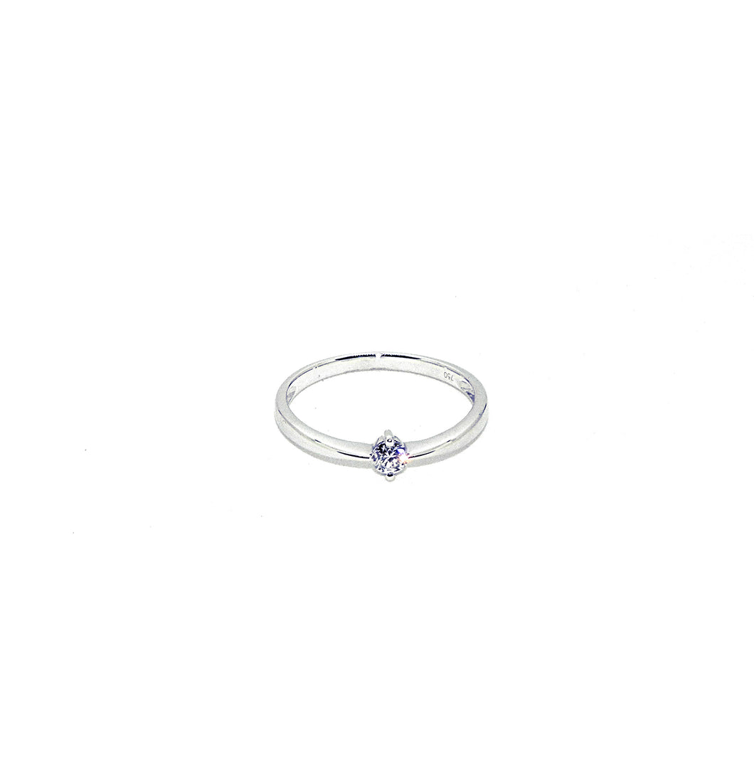 Solitaire Or blanc et Diamant 0.15 carat