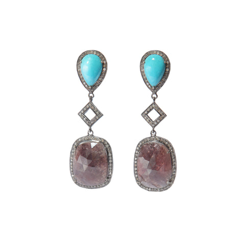 Turquoise and quartz with pave diamond earrings