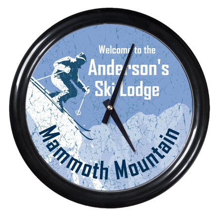 Personalized Clock - Ski Lodge