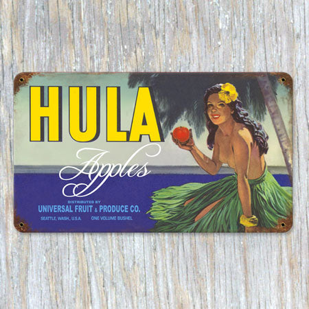 Hula Apples Metal Sign