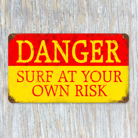 Danger Surf Metal Sign
