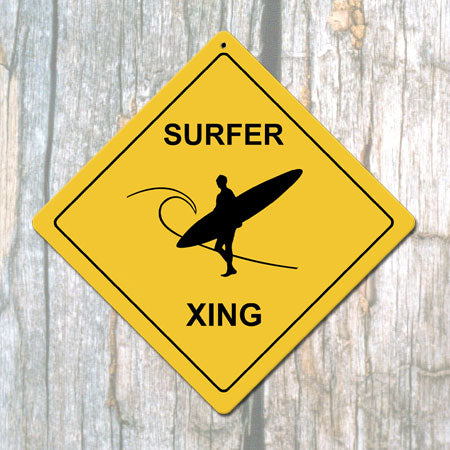 Surfer X-ing Man Metal Sign (Non-Distressed)