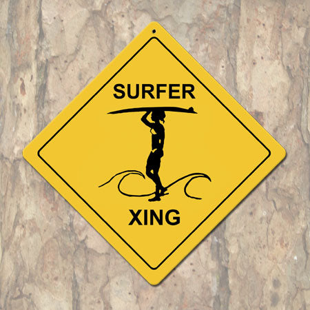 Surfer X-ing Woman Metal Sign (Non-Distressed)